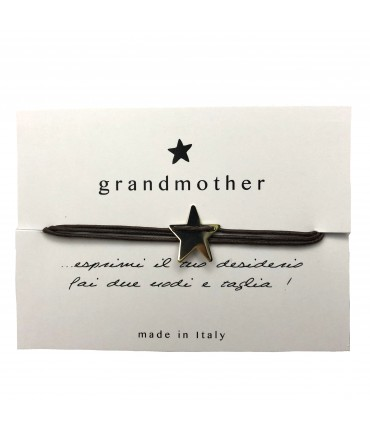 bracciale GRANDMOTHER  portafortuna stellina marrone testa di moro