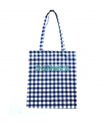 "shopping bag SUD in cotone quadretti vichy bluettes bianco con scritta glitter turchese ""summer"""