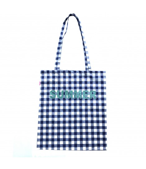 "shopping bag SUD in cotone quadretti vichy bluette e bianco con scritta glitter turchese ""summer"""