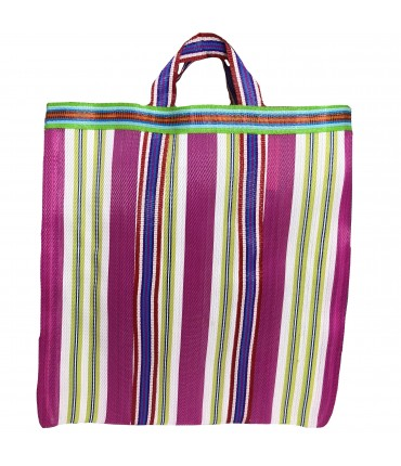 shopping bag a mano SUD fucsia con righe multicolori