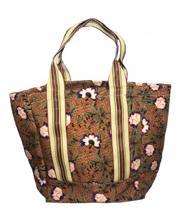 shopping bag SUD in cotone marrone bruciato con fiori e manici a righe