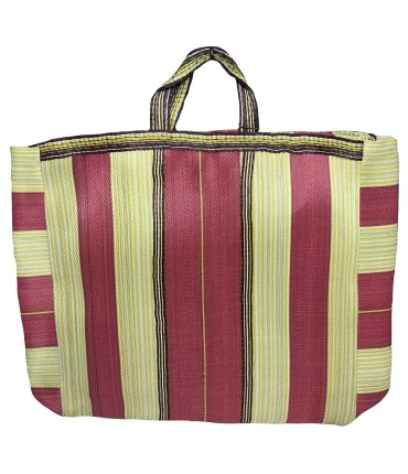 shopping bag SUD nylon a righe rosa fragola e giallo