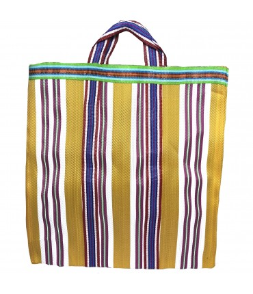 shopping bag a mano SUD giallo con righe multicolori