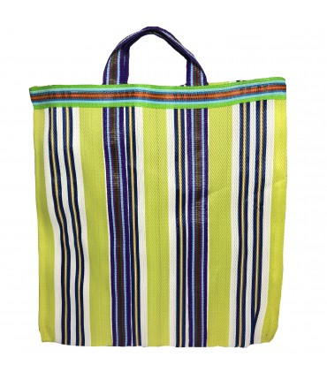 shopping bag a mano SUD lime con righe multicolori