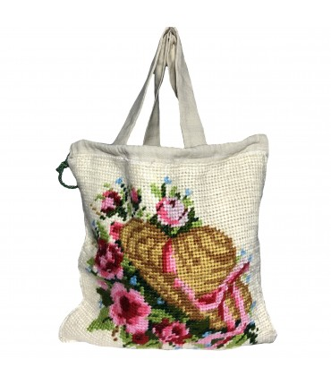 shopping bag a spalla LITTLE SARTORIA in cotone avorio con ricamo floreale sul davanti