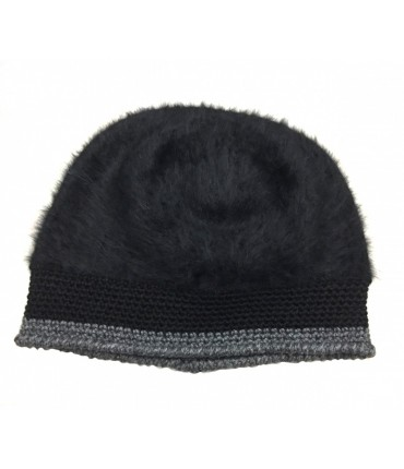 Exquisite J mohair hat with contrast crochet edge