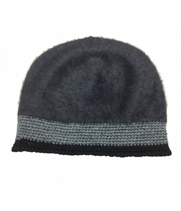 Exquisite J mohair charcoal hat with contrast black crochet edge