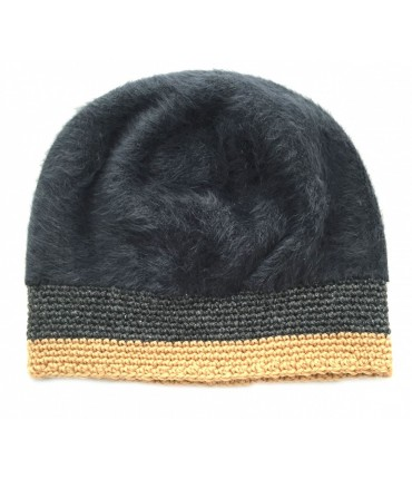 EXQUISITE J Hat in charcoal gray mohair with contrasting border