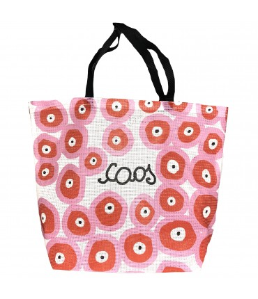 "shopping bag MADDALENA OLIVI in rete con scritta ""caos"""