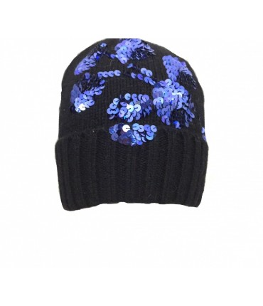 Exquisite J hat in black wool with flower embroidery cornflower blue sequins