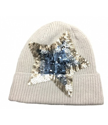 Exquisite J light beige ribbed wool hat with embroidered star sequins