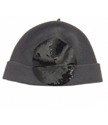 Exquisite j hat grey wool black sequined