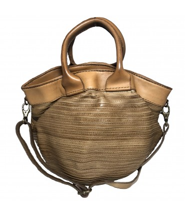 Majo maxi bag mud color with double handle and shoulder strap