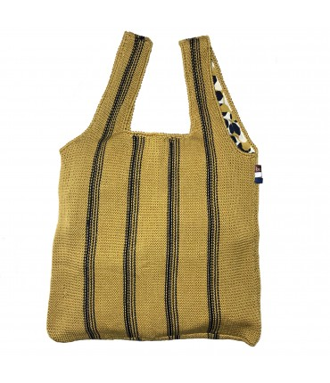 shopping bag BEJA fatta a mano in cotone senape con righe blu navy