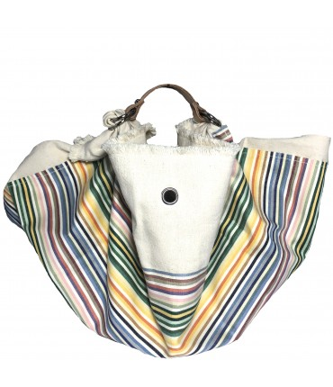 shopping bag LESARDINE.COM tela panna con inserto righe multicolori