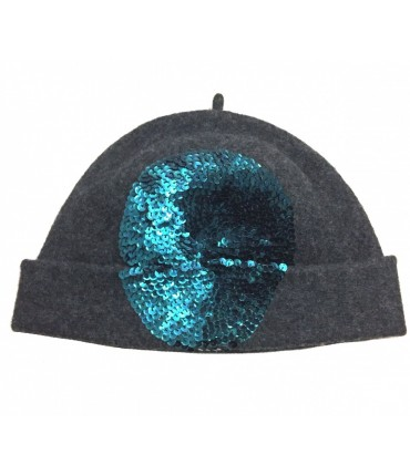 EXQUISITE J charcoal gray wool hat hand embroidered sequins turquoise wool