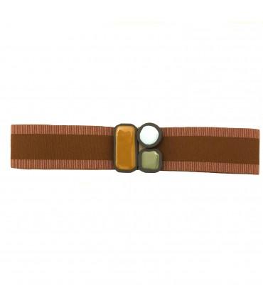 cintura alta EXQUISITE J in elastico a righe nocciola  e rosa con fibbia a tre colori