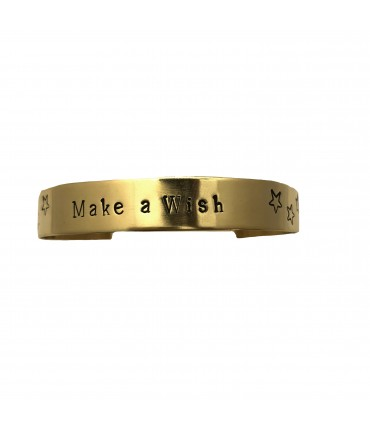 "bracciale rigido basso LABODIGIO' in argento placcato oro con incisione a mano ""make a wish"""