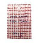 """pochette VOLANTS VOLANBT in cotone froisse' rosso e bianco quadrettini con ricamo mano """"saluti e baci"""""""