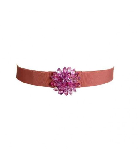 Exquisite j belt with pink crystals