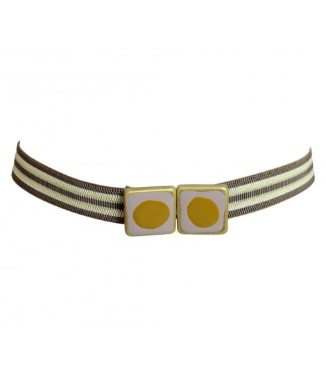 Exquisite j bicolored cubes+tape stripes belt