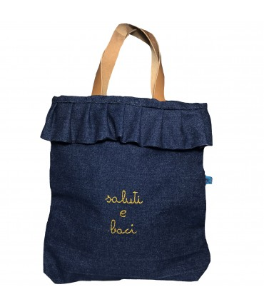 "shopping bag VOLANTS VOLANT denim blu scuro +ricamo a mano ""saluti e baci"""
