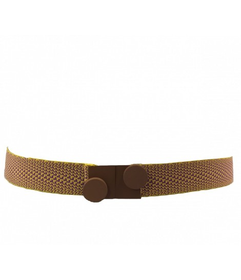 Exquisite J belt elastic melange+ rubberized brass buckle
