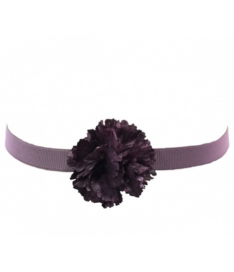 Exquisite J elastic belt with purple mauve silk flower
