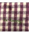 """pochette VOLANTS VOLANT in taffetta' di seta a quadretti viola malva e ricamo a mano """"be happy"""""""