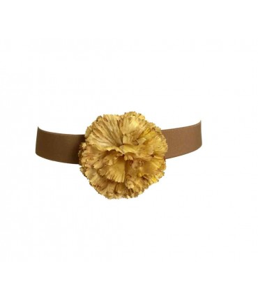 Exquisite j belt with silk flower dyed by hand yellow