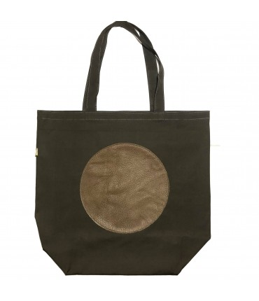 shopping bag SUD in tela di cotone marrone cioccolato con cerchio centrale in pelle