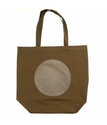 shopping bag SUD in tela di cotone fango con cerchio centrale in pelle