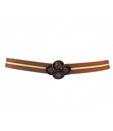 Exquisite J elastic belt with oval trio buckle
