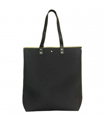 shopping bag SUD in tela pesante nera con manici in pelle e profilo lime