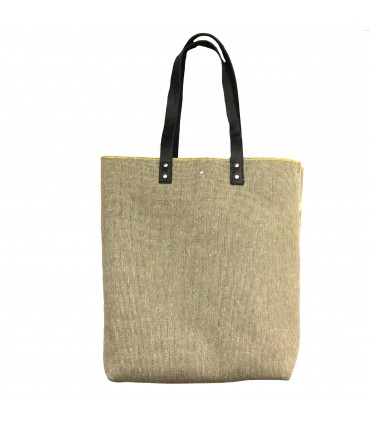 shopping bag SUD in tela pesante beige melange con manici in pelle e profilo lime