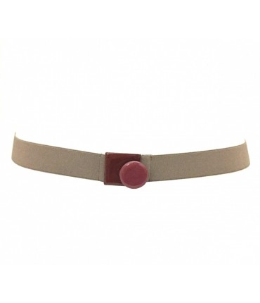Dark beige belt with brown enamel buckle + dark pink