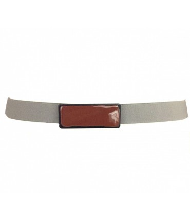 Exquisite J gray elastic belt + rectangular brown enamel buckle