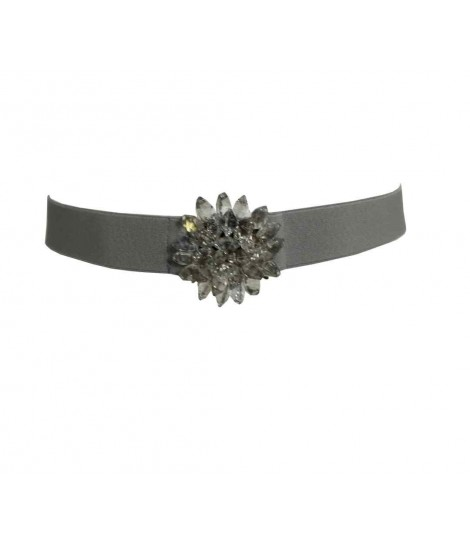 Exquisite j belt with crystals and grey bouquet