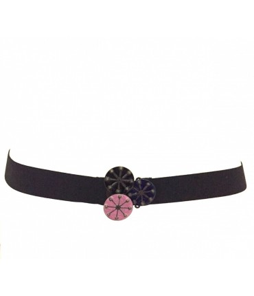 Exquisite J black belt three flowers enamel