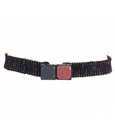 Exquisite J belt in charcoal elastic wool with square bicolour buckle