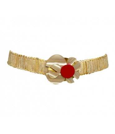 Exquisite j belt with rhodoid+ rope with red detail