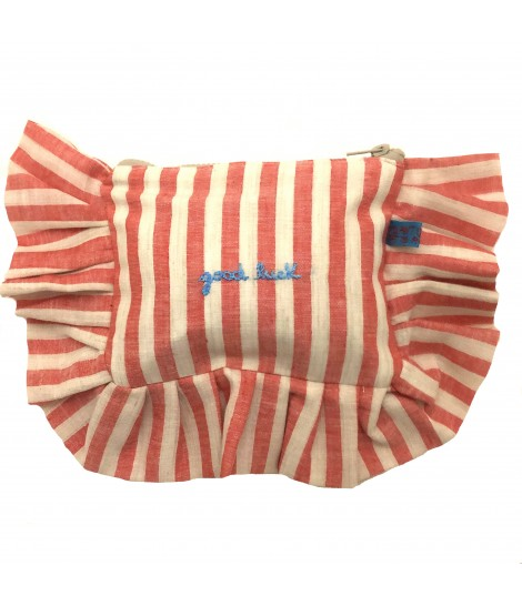 "pochette VOLANTS VOLANT righe corallo con ricamo sul davanti ""good luck"""