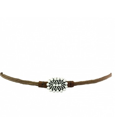 Handmade Exquisite J belt in woven straw with oval buckle and white crystals