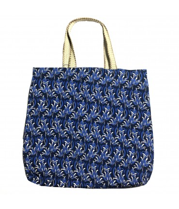 shopping bag SUD in tela di cotone blu scuro con fantasia floreale deco' e manici crochet