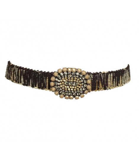 Exquisite j belt with rhinestone buckle+dark brown rope