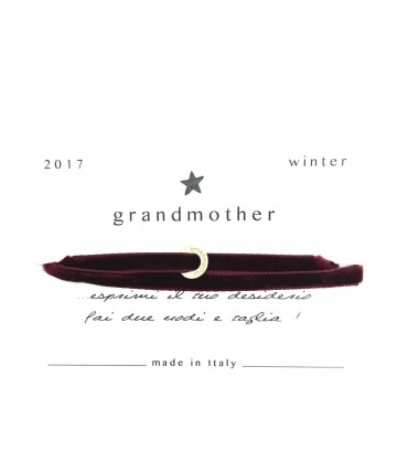 Grandmother bracelet lucky charm bordeaux velvet
