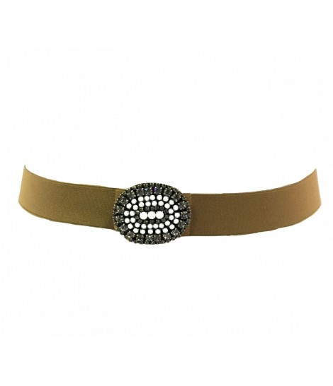 Exquisite j belt with camel elastic, maxi oval buckle+white crystals
