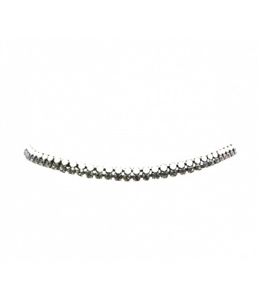 Exquisite J elastic belt with double row in white+grey crystals and lurex