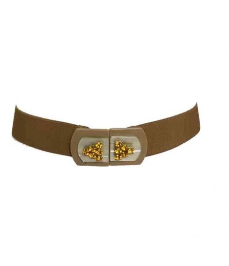Exquisite j belt with camel buckle and rhinestone