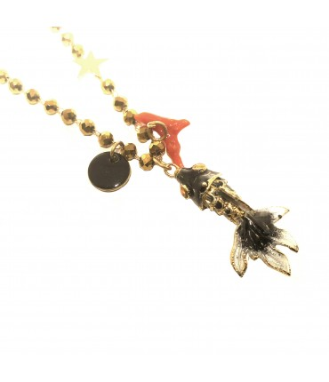collana girocollo MR BIGGY BIJOUX con pesce mini in smalto cloisonné' nero e catena con cristalli oro